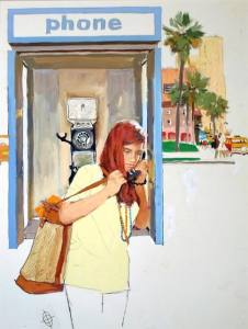 Hotline for Troubled Teens, 1970. Joe DeMers (1910-1984). Acrylic on board, 22 ½ x 18 ¼ in. New Britain Museum of American Art, Gift of Walt Reed, 2000.45.