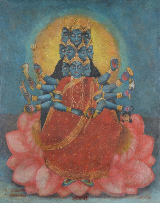 10 headed Kali by an unknown Bengal school artist