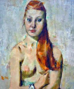 Girl with Red Hair, 1962. Jack LeVine (b. 1925). Oil on canas, 32 x 26 in. New Britain Museum of American Art, Gift of Mr. and Mrs. Donald Davis, 2003.13.
