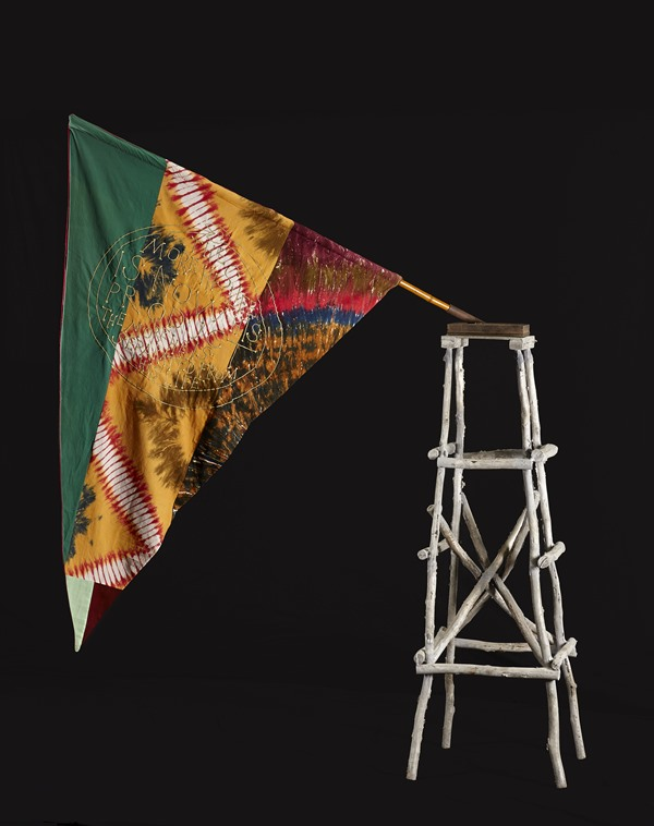Francesco Clemente, Hunger (2014), fabric, embroidery, bamboo, aluminum, iron.  Photo: Courtesy of the artist.
