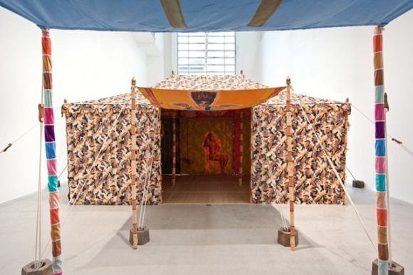 Francesco Clemente, Standing With Truth Tent (2013) (exterior view), tempera on cotton and mixed media.  Photo: Courtesy of the artist and Blain/Southern Gallery, Berlin.