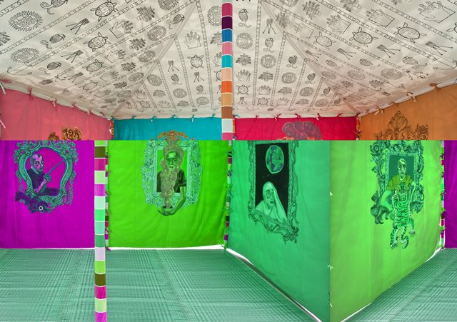 Francesco Clemente, Museum Tent (2013) (interior view), tempera on cotton and mixed media. Photo: Courtesy of the artist and Blain/Southern Gallery, Berlin.