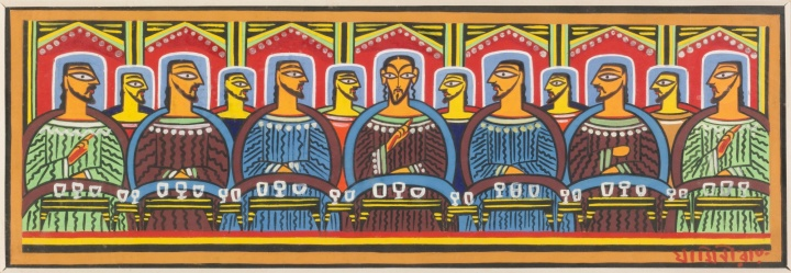 The Last Supper, by Jamini Roy, oil on cloth, Bengal, ca. 1937-1940