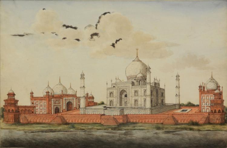 Taj Mahal, Agra. Company School artist. Watercolour on Paper.